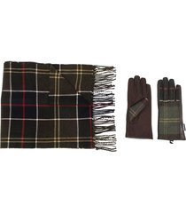 barbour check print scarf and gloves set - green