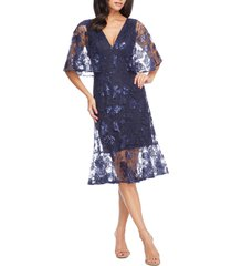 women's dress the population roseanna lace sequin fit & flare dress, size small - blue