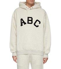 alphabet print cotton fleece hoodie