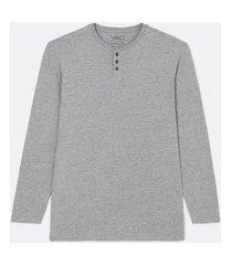 camiseta pijama manga longa gola henley | viko | cinza | m