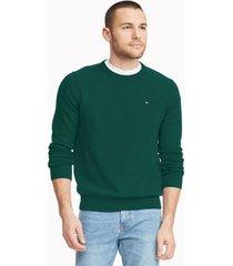 tommy hilfiger men's essential crewneck sweater green - l