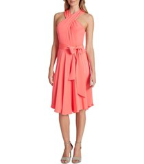 tahari asl crisscross-neck dress