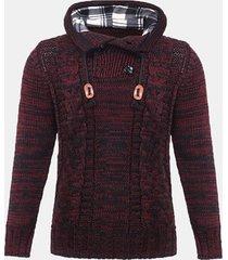 uomo pulsanti maglione con cappuccio casual lavorato a maglia in maglia invernale sottile spesso spessa calda