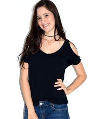 blusa up side wear ombro vazado preta