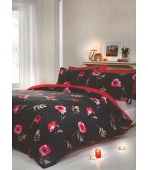 floral fleurs feuilles cross-hatched rouge noir housse de couette double