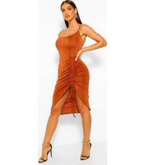 one shoulder ruched front midi dress, camel
