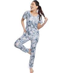 pijama feminino com bolso e punho zebra azul - azul/branco/zebra - feminino - viscose - dafiti