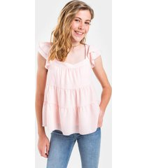 franki tiered babydoll blouse for girls - pink