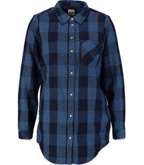 only stevige zachte lange flanelachtige blauwe loose fit blouse