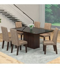mesa de jantar 6 lugares manu venus ameixa/malta/preto - viero móveis