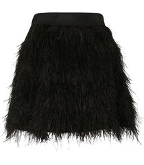 alice + olivia short furry skirt