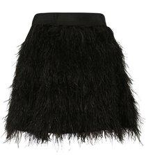 alice + olivia short furry skirt