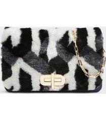 tommy hilfiger women's faux fur turnlock clutch fur monogram -