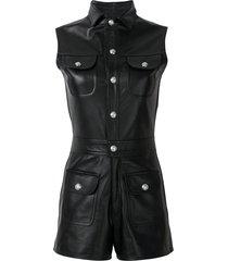manokhi leather sleeveless playsuit - black