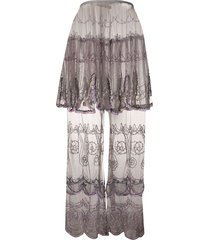jean paul gaultier pre-owned 1990s beaded sheer maxi skirt - grey