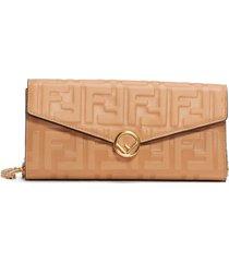 beige logo print wallet