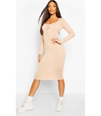 long sleeve ruched bust jersey midi dress, stone