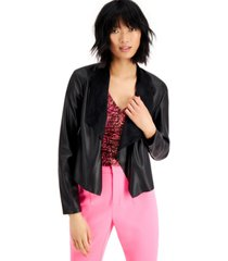 bar iii faux-leather flyaway jacket, created for macy's