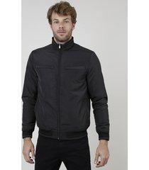 jaqueta bomber masculina com bolsos preta