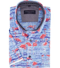 casa moda overhemd blauw flamingo print casual fit