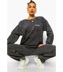 acid wash gebleekte ofcl studio oversized sweater, charcoal