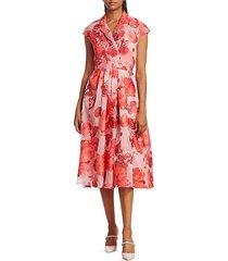 lela rose women's rose fil coupé midi dress - cornflower - size 14