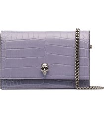 alexander mcqueen skull-embellished crossbody bag - purple