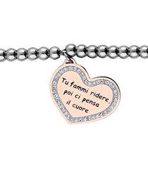"""bracciale """"tu fammi ridere, poi ci pensa il cuore"""" in acciaio con ciondolo rosato e strass per donna"""