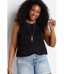 maurices plus size womens 24/7 black braided arm tank top