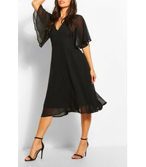 angel sleeve midi skater dress, black