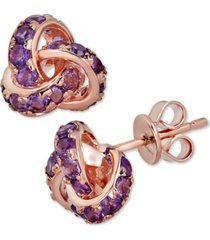 amethyst love knot stud earrings (3 ct. t.w.) in 14k rose gold-plated sterling silver