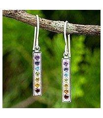 multigemstone chakra earrings, 'chakra honor' (thailand)