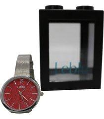 reloj rojo leblu glitter
