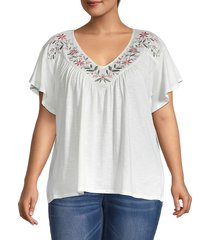 bobeau women's plus floral embroidered t-shirt - white - size 1x (14-16)