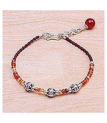 carnelian beaded cord bracelet, 'sunny days ahead' (thailand)