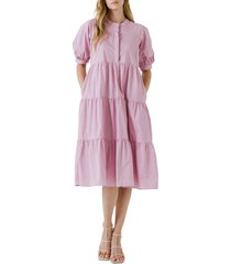 english factory puff sleeve dress, size x-small in lilac at nordstrom