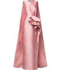 azzi & osta ruffled cape-back gown - pink