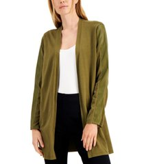 alfani faux-leather trim open cardigan, created for macy's