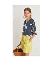 t-shirt maria valentina decote redondo detalhe retilínea azul marinho