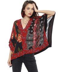 blusa desigual poncho patchwork multicolor - calce oversize
