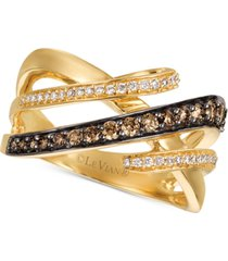 le vian chocolatier diamond interwoven statement ring (5/8 ct. t.w.) in 14k gold