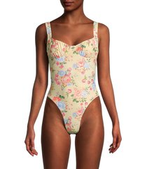 weworewhat women's floral ruched one-piece swimsuit - sand multi - size l
