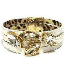 pulseira armazem rr bijoux couro branca