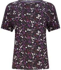 camiseta mujer flores rosas y blancas color morado, talla s