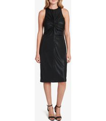 tahari asl metallic knot-front midi dress