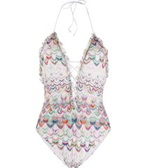 missoni mare knit layer swimsuit - white