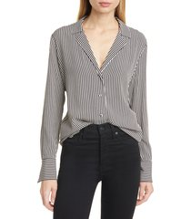 women's equipment oriana stripe blouse, size small - grey