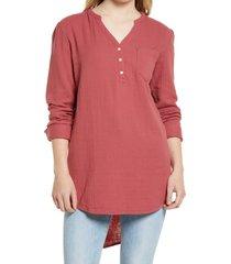 women's caslon women's long sleeve high/low tunic, size xx-small - red