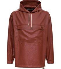 nanushka arno brown vegan leather hoodie