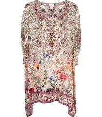 camilla floral kaftan blouse - neutrals